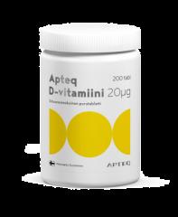 Apteq D-vitamiini 20 mikrog 200 tabl